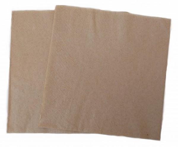 Bio Papier Servietten Kraftbraun 33x33 1lagig 1/4 Falz